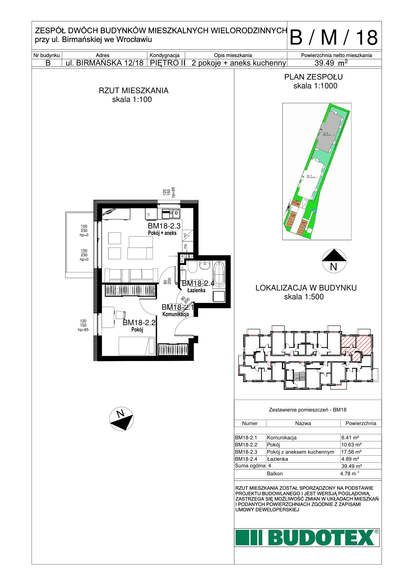 Mieszkanie nr B/M/18
